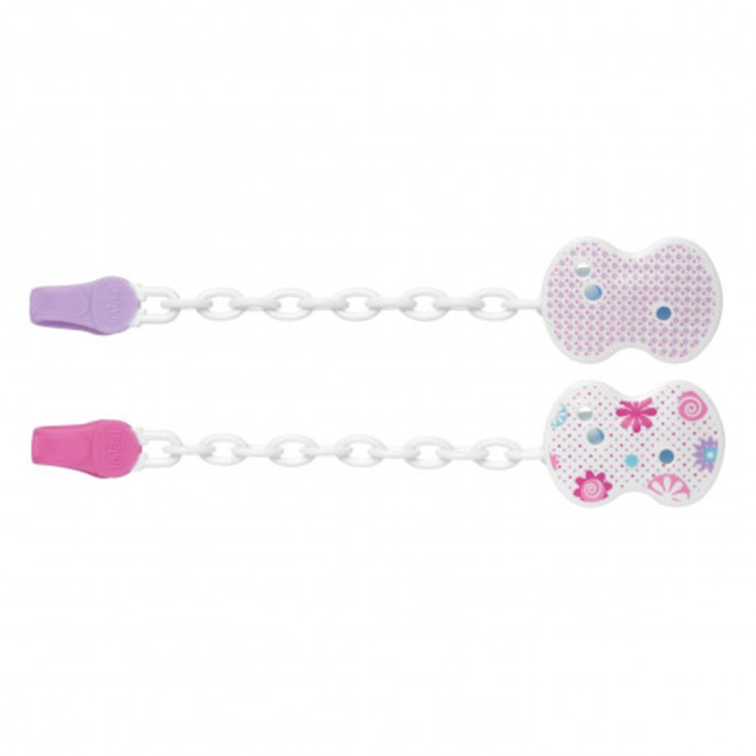Chicco Clip con catenella rosa 2 decori assortiti