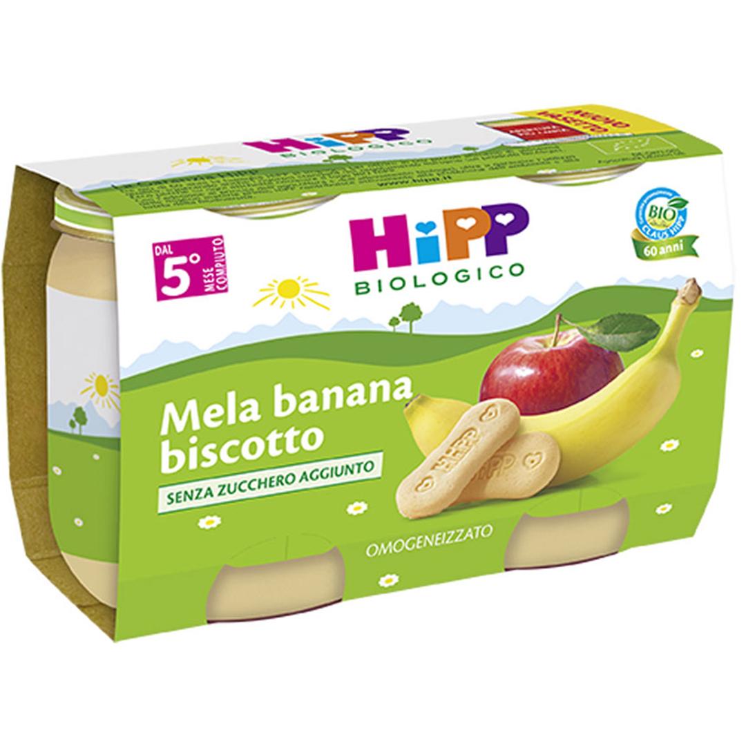 Hipp Merende di Frutta Mela Banana Biscotto 2x125g