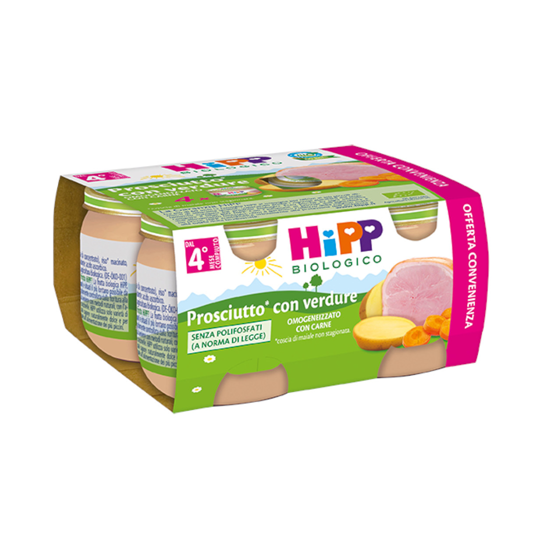 Hipp Omogenizzati Carne Multipack Prosciutto con verdure 4x80g