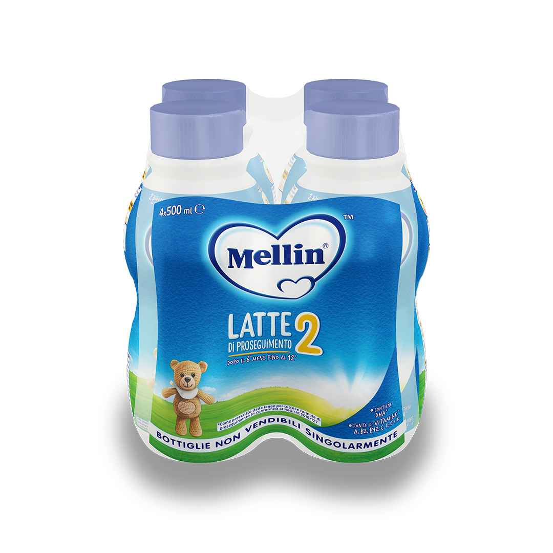 Mellin 2 Latte Liquido 4x500ml