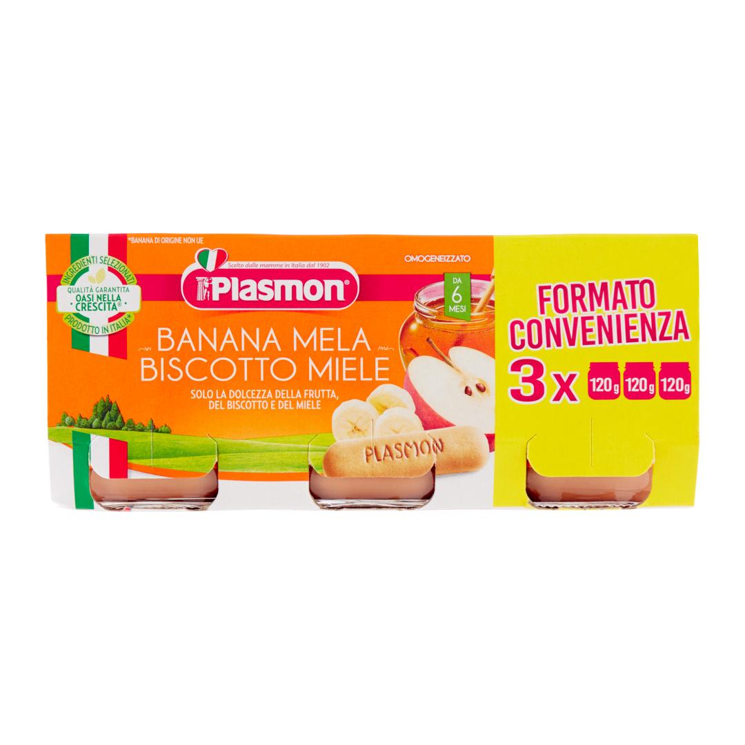 Plasmon Dessert Banana Mela Biscotto Miele 3x100g